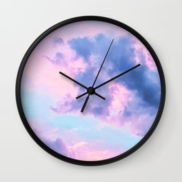 Pastel Purple Lilac Fluffy Fantasy Fairytale Sunset Clouds In The Sky Wall Clock