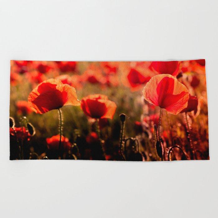 Fiery poppy field - Red Poppies Flowers Beach Towel