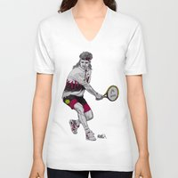 tennis V-neck T-shirts featuring Tennis Agassi by Paul Nelson-Esch Art