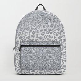 Trendy Silver Glitter & Leopard Print Ombre Design Backpack