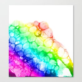Watercolor rainbow abstract bubble splashing paint isolated on white background Canvas Print