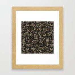 Dark Vintage Motorcycle Pattern Framed Art Print