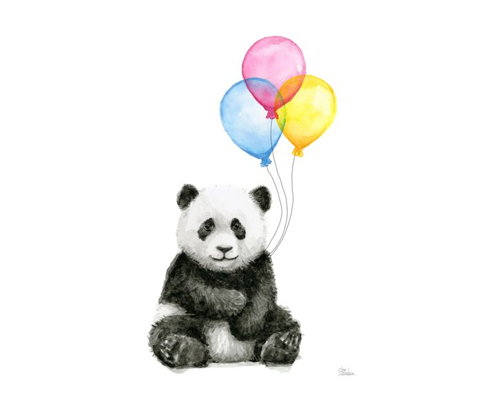 Panda Baby with Balloons Whimsical Nursery Animals Metal Travel Mug