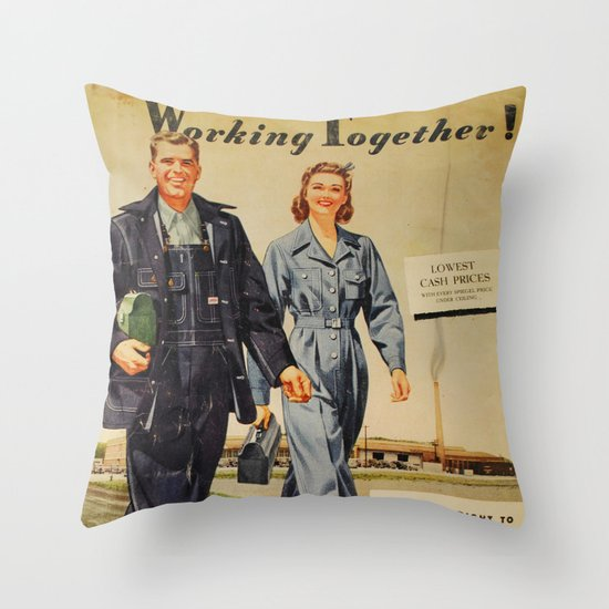 1942 Working Together Cover Throw Pillow