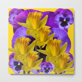 YELLOW DAFFODILS AGAINST PURPLE PANSIES Metal Print