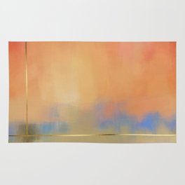 Abstract Landscape With Golden Lines Painting Rug