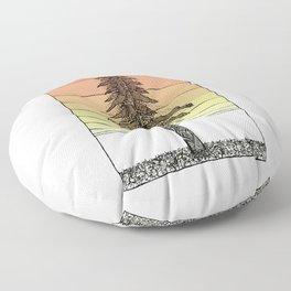 Coastal Redwood Sunset Sketch Floor Pillow