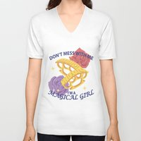 magical girl V-neck T-shirts featuring Magical Girl by ToppledCards Designs