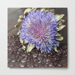 Fresh Coffee Beans with Blue Artichoke Metal Print