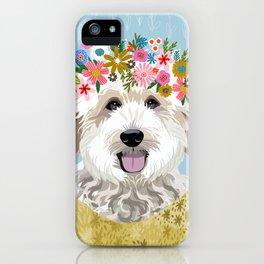 Golden Doodle Flower Portrait - dog portrait, goldendoodle dog, dog flower, flower crown, dog, dogs iPhone Case