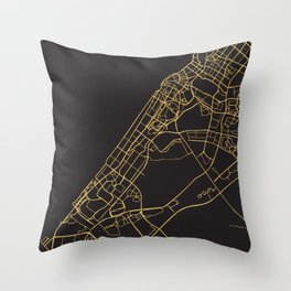 DUBAI UAE GOLD ON BLACK CITY MAP Throw Pillow