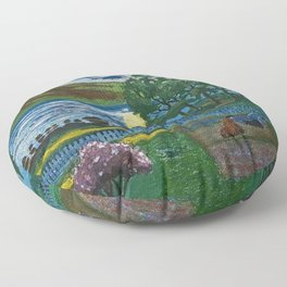 Planting the Spring Crops Lakeside under the yellow May Moon landscape painting by Nikolai Astrup Floor Pillow