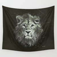the lion king Wall Tapestries featuring Lion by Narek Gyulumyan