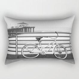 Bicycle at Manhattan Beach Pier Black and White Photography Rectangular Pillow