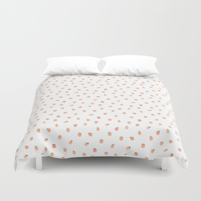 sweet peach polka dot white duvet cover by mari orr society6. Black Bedroom Furniture Sets. Home Design Ideas
