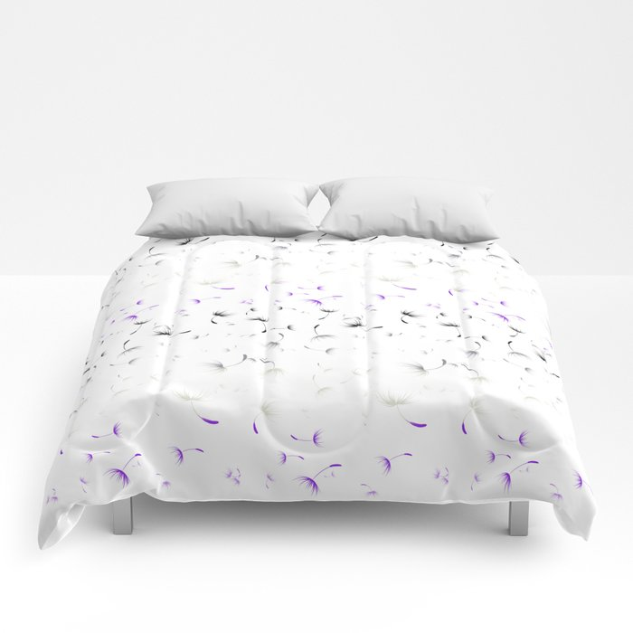 Dandelion Seeds Asexual Pride (white background) Comforters