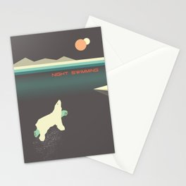 Polar bear nigh swimming Stationery Cards