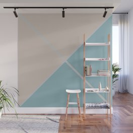 Envelope Geometric Shape Blue with Grayish Orange and Light Gray Wall Mural