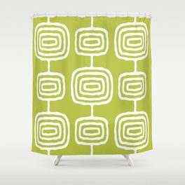 Mid Century Modern Atomic Rings Pattern 771 Green Shower Curtain