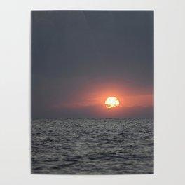 Sunset open sea Poster
