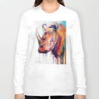 rhino Long Sleeve T-shirts featuring Rhino by Slaveika Aladjova