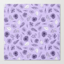 Hand painted violet white watercolor modern floral pattern Canvas Print
