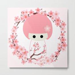 Sakura Kokeshi Metal Print