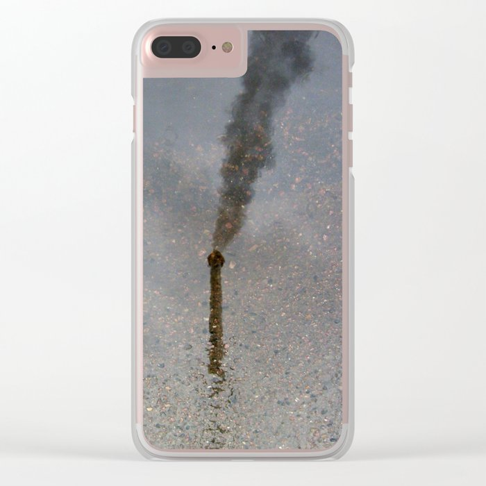 Factory Chimney  Reflection in Water Clear iPhone Case