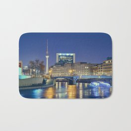 Berlin. Spree at night Bath Mat