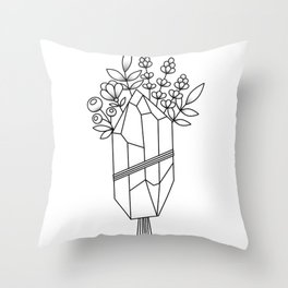 Crystal Flower Bouquet Throw Pillow
