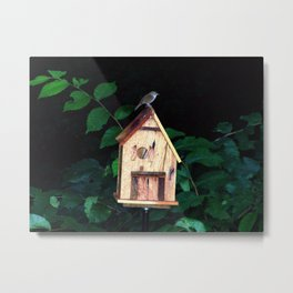 Little Wren on Birdhouse Metal Print