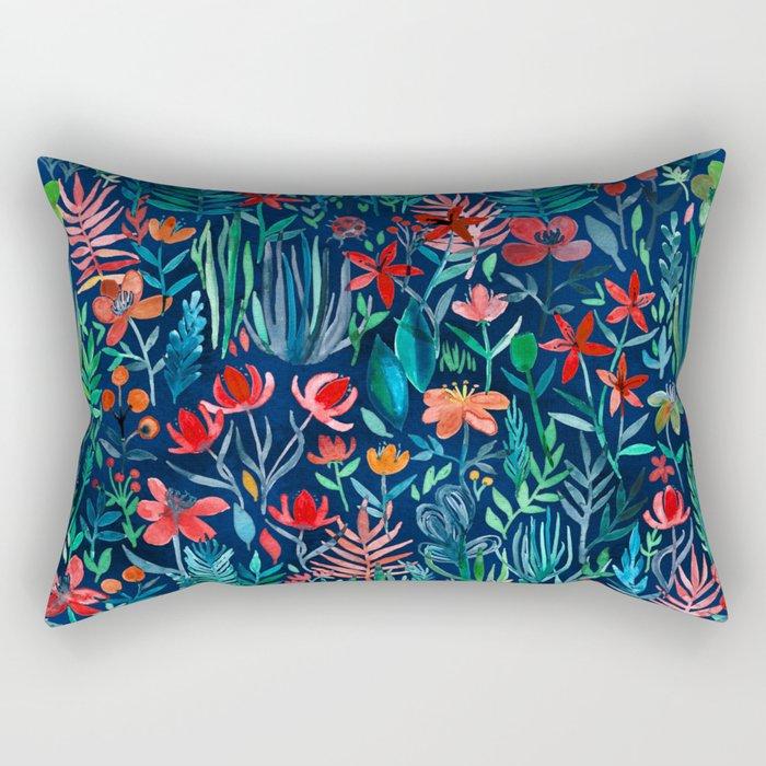Tropical Ink A Watercolor Garden Rectangular Pillow By
