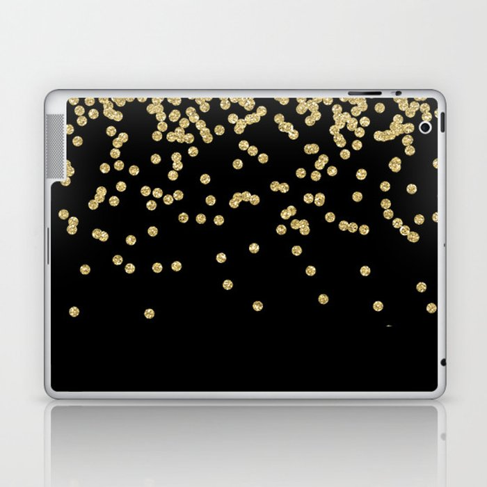 Sparkling gold glitter confetti on black - Luxury design Laptop & iPad Skin