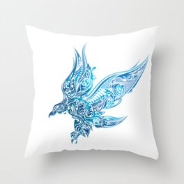 Artistic Eagle Soaring Wings Ornate Prismatic Art Throw Pillow