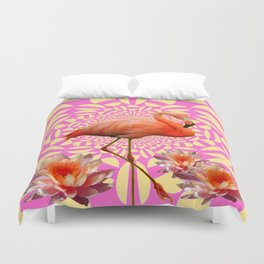 Pink & Cream Flamingo Water lilies Optical Art Duvet Cover