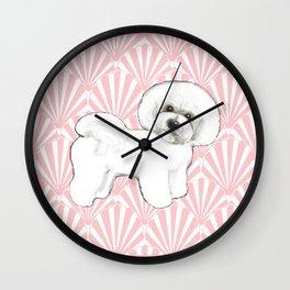 Bichon Frise at the beach / seashell pink Wall Clock