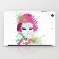 water colour iPad Cases featuring water colour lady by rebeccalbe