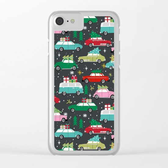Christmas pattern print vintage cars holiday gifts presents christmas trees cute decor Clear iPhone Case