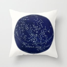 French September Star Map in Deep Navy & Black, Astronomy, Constellation, Celestial Throw Pillow
