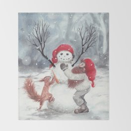 Gnome and squirrel building snowman - Christmas Throw Blanket