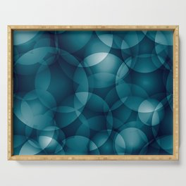 Dark intersecting heavenly translucent circles in bright colors with the blue glow of the ocean. Serving Tray