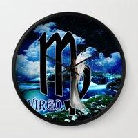 virgo Wall Clocks featuring Virgo by LBH Dezines