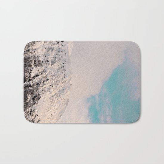 Black, White & Turquoise Winter Bath Mat