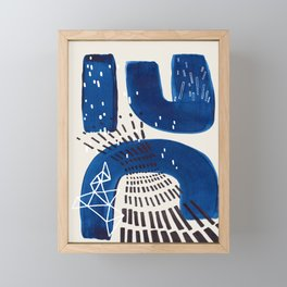 Fun Mid Century Modern Abstract Minimalist Vintage Navy Blue Brush Strokes Minimal Shapes Framed Mini Art Print