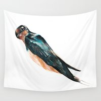 swallow Wall Tapestries featuring Swallow says what? by Cat Graff