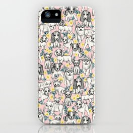 Dogs and Daisies on Pink iPhone Case