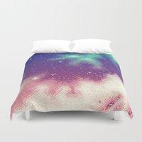 8bit Duvet Covers featuring Rainbow Nebula (8bit) by Sarajea