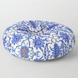 Art Nouveau Chinese Tile, Cobalt Blue & White Floor Pillow