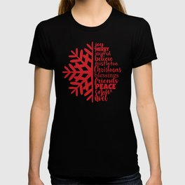 Merry Christmas Red Snowflake Word Art T-shirt