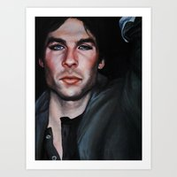 vampire diaries Art Prints featuring Ian Somerhalder (Damon from Vampire Diaries) by Britanee LeeAnn Sickles